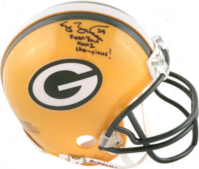 Edgar Bennett Green Bay Packers Autographee Mini Helmet By the side of Super Hollow Xxxi Champs Inscription