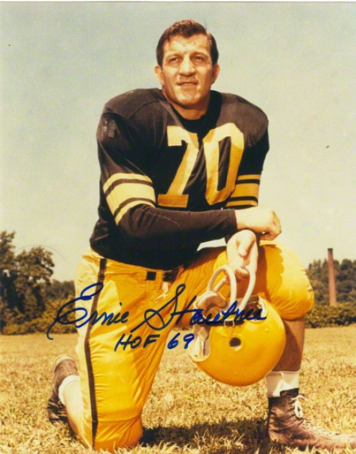 Ernie Stauutner Pittsburgh Steelers Autographed 16x20 Photo On One Knee Inscribed Hof 69