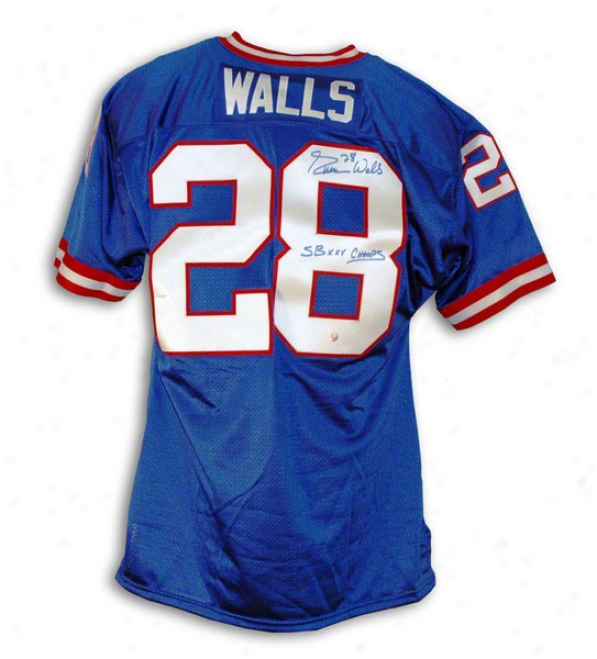 Everson Walls New York Giants Autographed Blue Throwback Jersey Inscribed Sb Xxv Champs