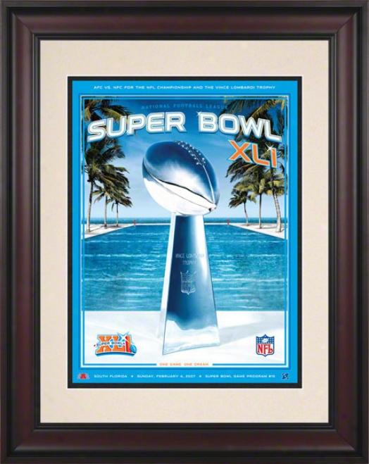 Framed 10.5 X 14 Super Bowl Xli Program Print  Details: 2007, Colts Vs Bears