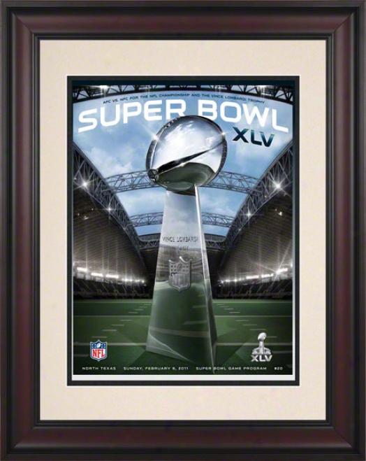 Framed 10.5 X 14 Super Bowl Xlv Program Print  Particulars: 2011, Packers Vs Steelers