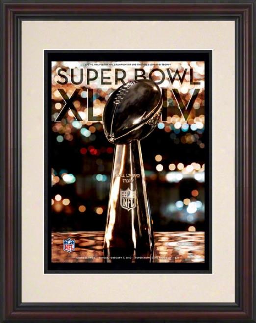 Framed 8.5 X 11 Super Bowl Xliv Program Print  Details: 2010, Saints Vs Colts