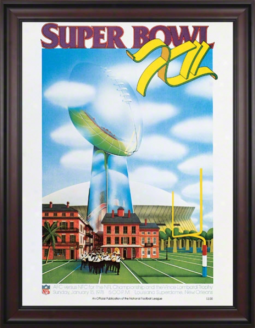 Framed Canvas 36 X 48 Super Goblet Xii Program Print  Details: 1978, Cowboys Vs Broncos