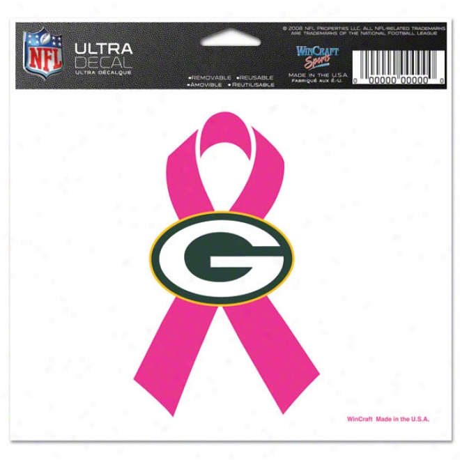 Green Bay Packers Breast Cancer Awareness 4x6 Ultra Decal