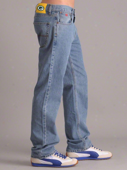 Green Bay Packkers Light Wash Tailgater Relaxed Fit Denim Jeans