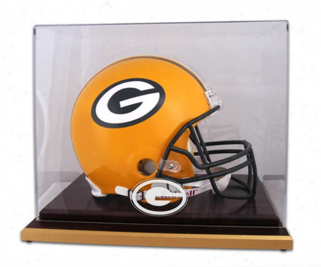 Green Ba yPackers Logo Helmet Display Case Details: Wood Base, Mirrored Back