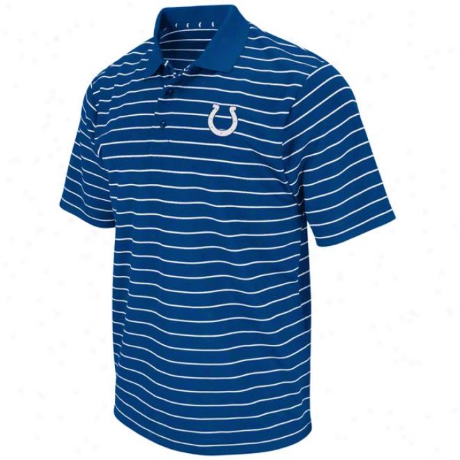 Indianapolis Colts Blue Fanfare Iii Sriped Polo Shirt
