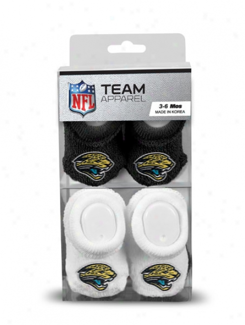 Jacksonville Jaguars Newborn 3-6 Months Black And White Nfl Booties 2 Pack