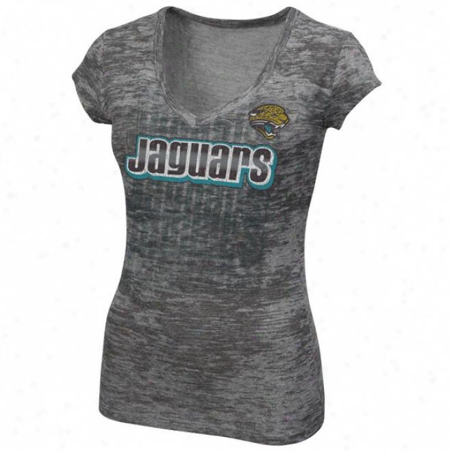 Jacksonville Jaguars Women's Pride Playing Tri-blend Burnout V-nrck Tee