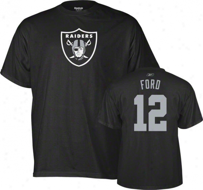 Jacoby Ford Oakland Raiders Black Reebok Name & Number T-shirt