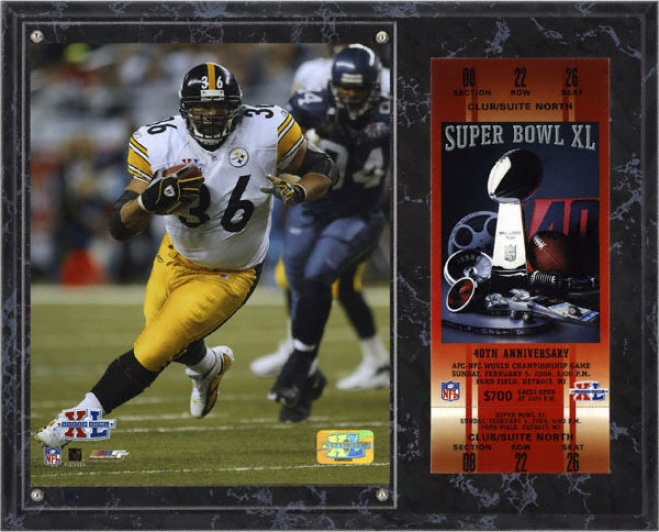 Jerome Bettis Sublimated 12x15 Plaque  Details: Pittsburgh Steelers,, Super Bowl Xl, With Replica Ticket