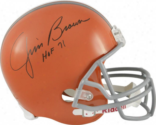 Jim Brown Autograpged Helmet  Particulars: Cleveland Browns, Riddell Replica Helmet, Hof 71 Inscrription