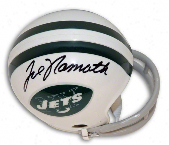 Joe Namath Autographed New York Jets Throwback Mini Helmet