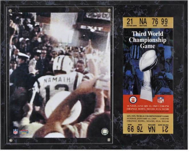 Joe Namath Sublimated 12x15 Plaque  Details: Sb 3 Super Bowl