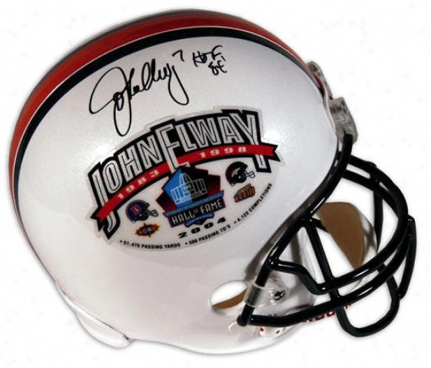 John Elway Autographed Pro-line Helmet  Details: Hall Of Fame Induction, Hof 04 Inscription, Authentic Riddell Helmet