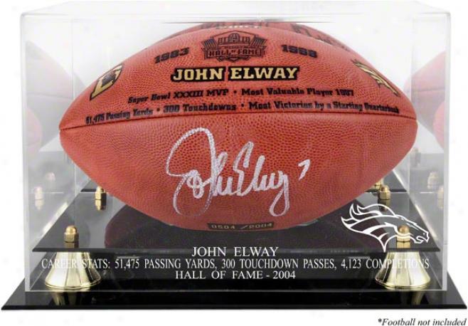 John Elway Golden Classic Fooball Logo Display Case nAd Mirror Back