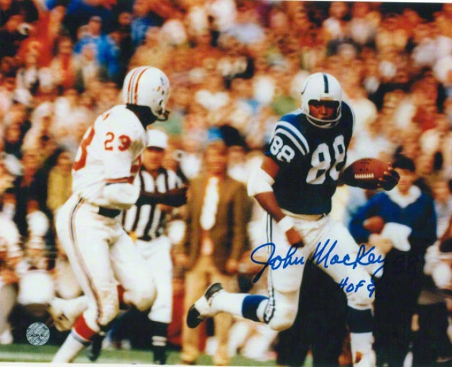 John Mackey Baltimore Colts Autographed 8x10 Photo Running Down The Sideline Inscribed Hof 92