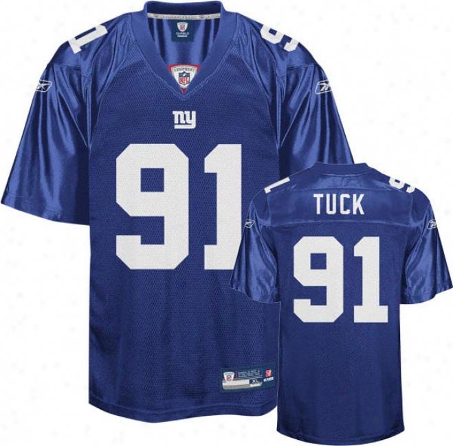 Justin Tuck Jersey: Reebok Blue Replica #91 New York Giants Jersey