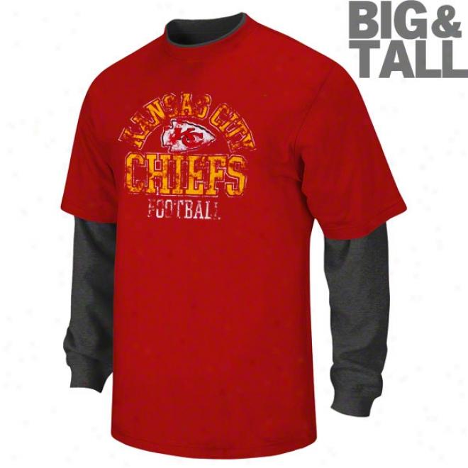 Kansas City Chiefs Big & Tall Rezd & Rwact Long Sleeve 2-fer Shirt