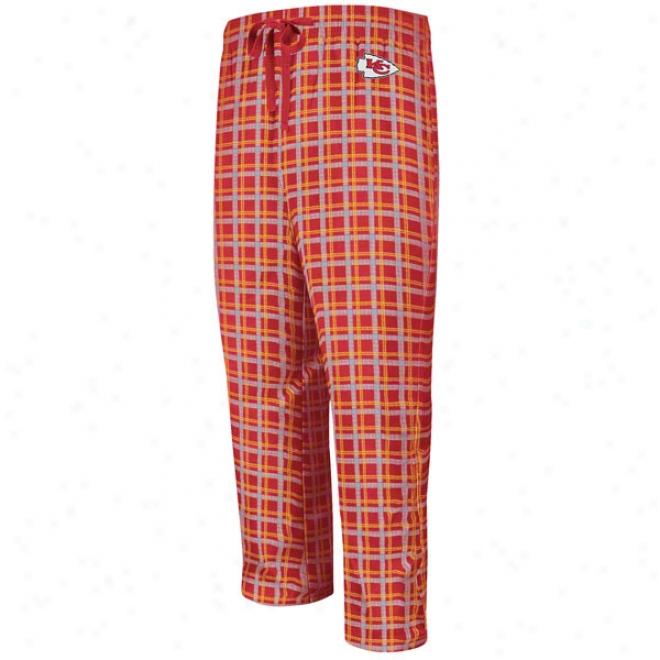 Kansas City Chiefs Crossbar Red Flannel Sleep Pants