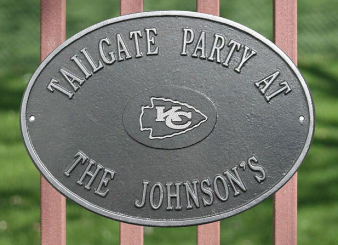 Kansas City Chiefs Personalized Pewter And Silver Indoor/outdoor Flat plate of metal