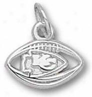 Kansas City Chiefs Sterling Silver Arrowhead Logo Pierced Football 1/4'' Pendant