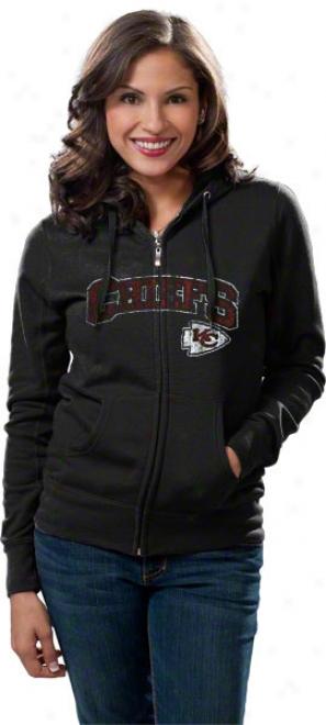 Kansas City Chiefs Women's Biack Football Classic Ii Full-zip Hooded Sweatshirt