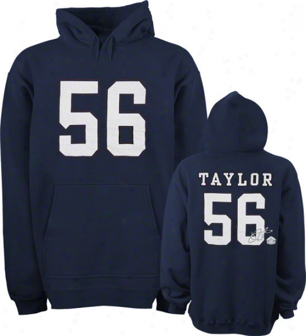 Lawrence Taylor New York Giantx Navy Hall Of Reputation Name & Number Hooded Sweatshirt