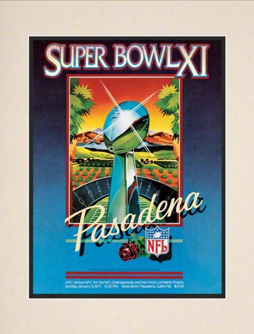 Matted 10.5 X 14 Super Bowl Xi Program Print  Details: 1977, Raiders Vs Vikings