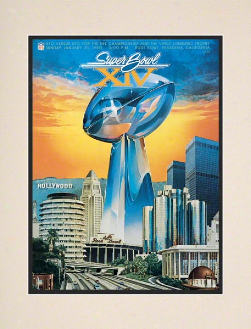 Matted 10.5 X 14 Super Bowl Xiv Program Prin t Details: 1980, Steelers Vs Rams
