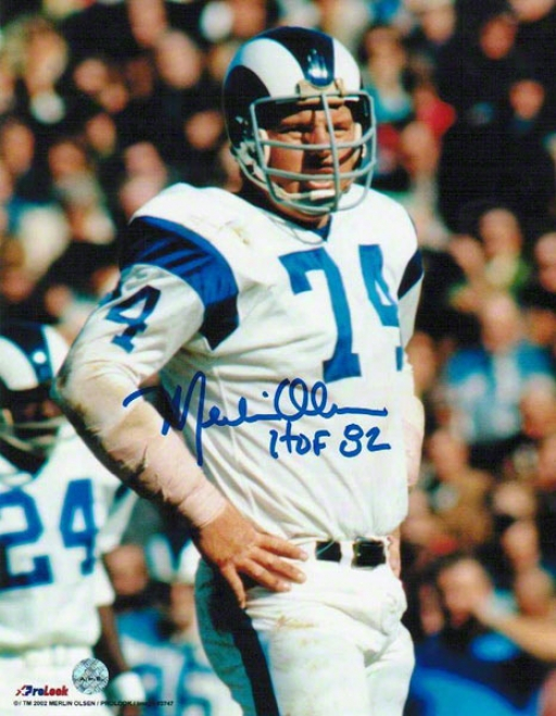 Merlin Olsen Los Angeles Rams Autographed 8x10 Photograph With Hof 82 Inscription