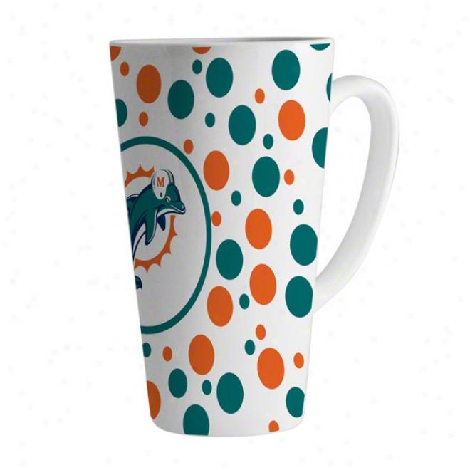 Miami Dolphins 16oz White Polka Dot Latte Mug
