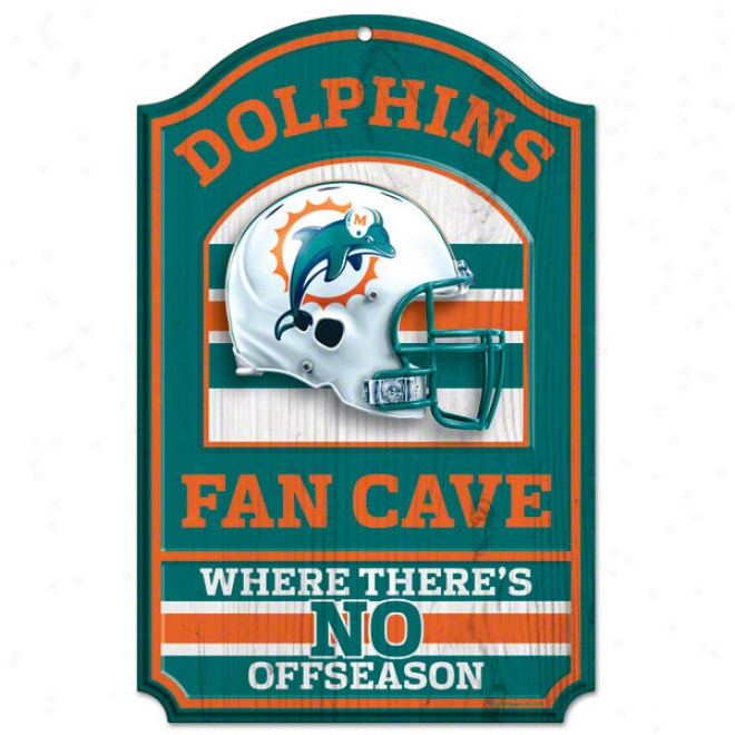 Miami Dolphins Fan Cave 11x17 Wood Sign