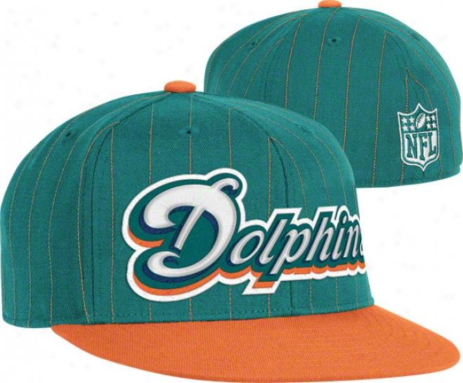 Miami Dolphins Flex Hat: Pinstripe Flat Brim Flex Hat