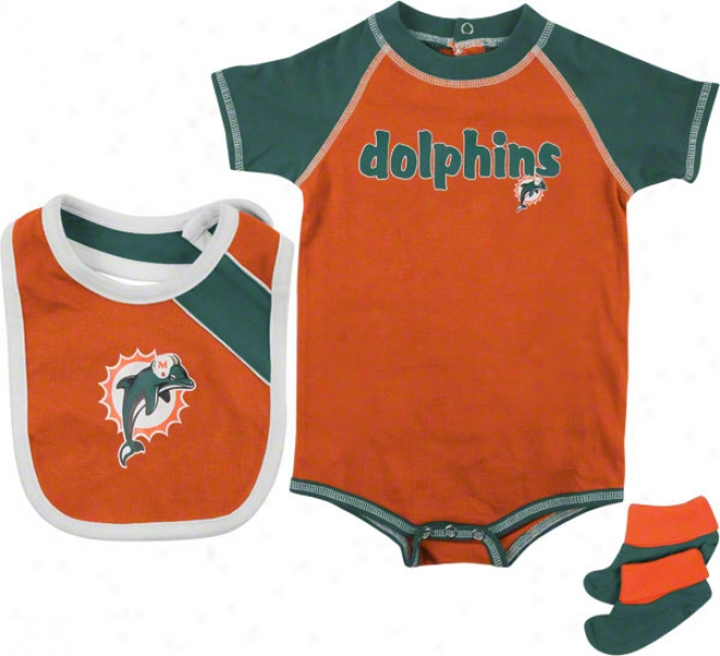 Miami Dolphins Infant Creeper, Bib, And Bootie Set