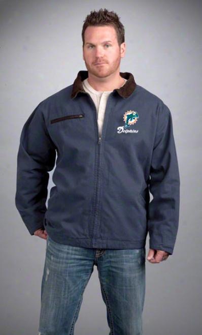 Miami Dolphins Jacket: Navy Reebok Tradesman Jacket