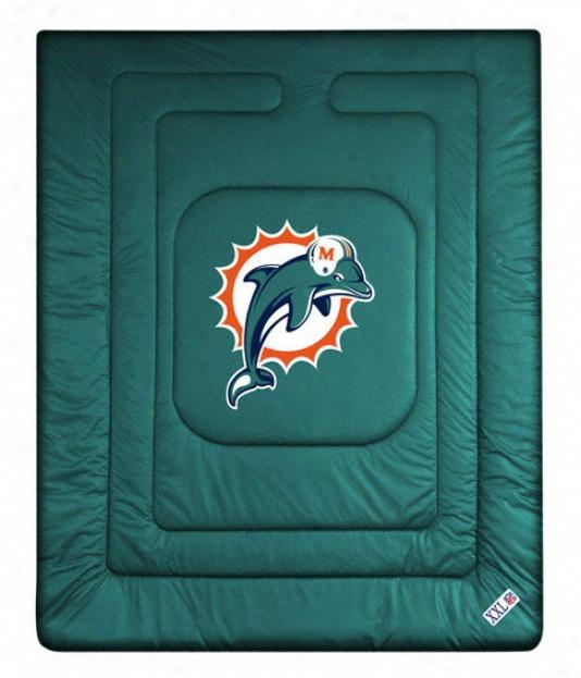 Miami Dolphins Locker Room Comforter - Full/queen Bed