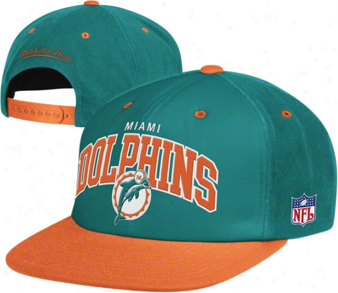 Miami Dolphins Mitchell & Ness Throwback Arch W/logo Snapback Hat