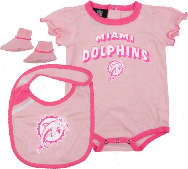 Miami Dolphins Newborn Pink Creeper, Bib, And Bootie Concrete