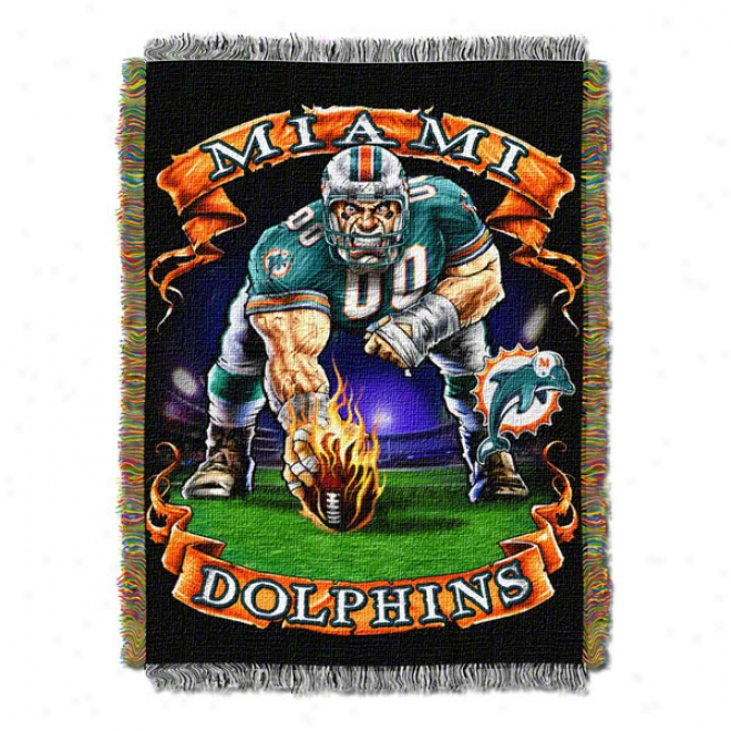 Miami Dolphins Three Point Stance Woven Tapestry Tyrow