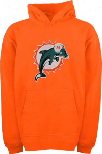 Miami Dolphins Youth Orange Big Logo Hooded Sweatshirt