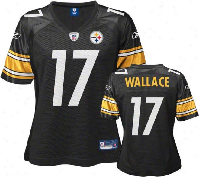 Mike Wallace Women's Jersey: Reebok Black Pittsburgh SteelersR eplica Jersey