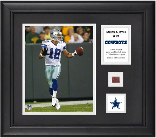 Miles Austin Framed 8x10 Photograph  Details: Dallas Cowboys, With Game-used Footgall Piece And Descriptive Plate