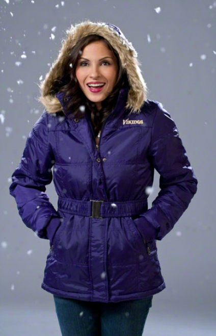 Minnesota Vikings Women's Full-zip Polyfill Belted Parka Jacket