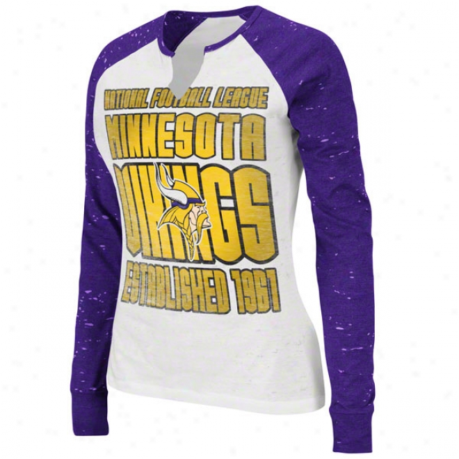 Minnesota Vikings Women's Model Player White Long Sleeve Raglan Top
