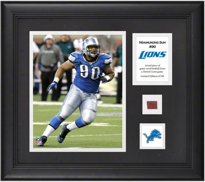 Ndamukong Suh Framed 8x10 Photograph  Details: Detroit Lions, With Game-used Football Piece And Descriptive Plate