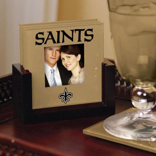 New Orleans Saints Art Glass Photo Coaster Set