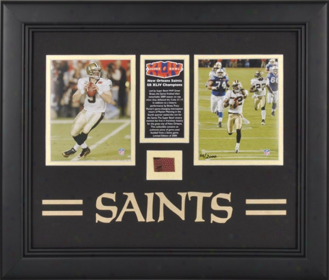 New Orleans Saints Framed 2009 Seasln Photographs With Team Logo And Football - L.e. Of 2000