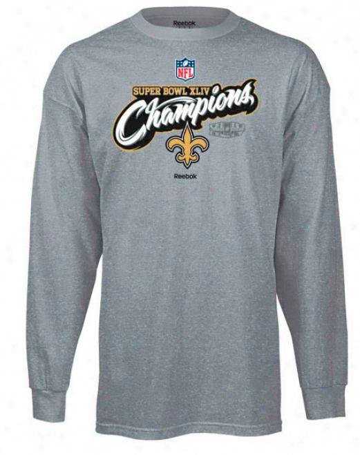 New Orleans Saints Super Bowl Xliv Champions Kids (4-7) Reebok Official Locker Room Long Sleeve T-shirt