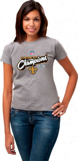 Nrw Orleans Saints Super Bowl Xliv Champions Women'q Official Locker Room T-shirt